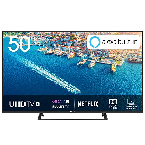 Hisense H50BE7200 Smart TV LED Ultra HD 4K 50', HDR10, Dolby DTS, Single Stand Slim Design, Tuner DVB-T2/S2 HEVC Main10, Nero [Esclusiva Amazon - 2019]