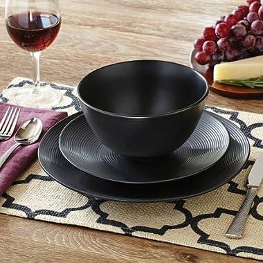 Better Homes and Gardens Matte Swirl 12-Piece Dinnerware Set, Black, Set of 2