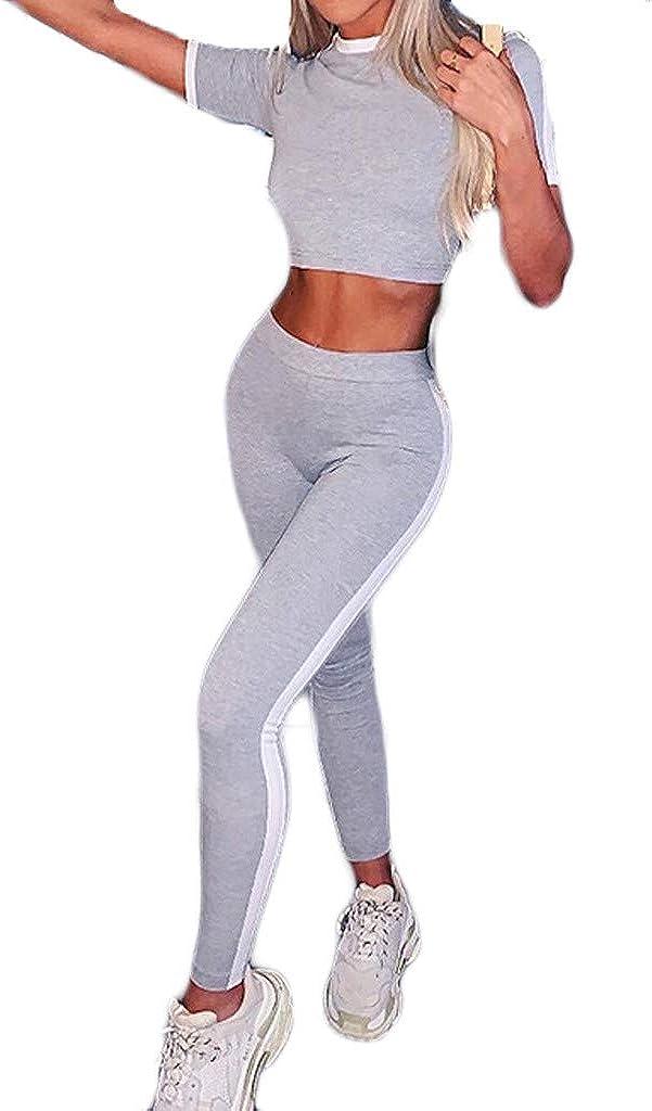 Amazon Com Conjunto De Ropa Deportiva Para Mujer Pantalones Cortos De Fitness Chándal Camiseta De Verano Y Pantalones Largos Pantalones Cortos De Rayas Informales Clothing