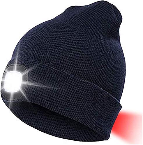 LED Beanie Mütze Mit 3 Licht Helligkeitslevel Herren Damen Lampe Mütze USB Nachladbare Laufmütze Winter Wärmer Cap mit Licht für Jogging,Walking,Camping, Grillen,Angeln (Blau, 1 Stück)