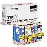 SMARTOMI T0801 Cartuchos de Tinta Compatibles con Epson T0807 para Stylus Photo R265 R285 R360 RX560 RX585 RX685 P50 PX650 PX660 PX700W PX710W PX720WD PX800FW PX810FW PX830FWD Serie 7PK