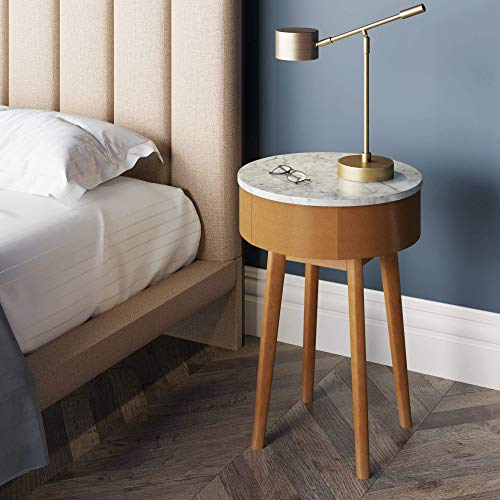 Nathan James James ames Mid-Century Round Accent Side or End Table Walnut Finish Wood and Faux Top with Storage Nightstand, Marble/Brown