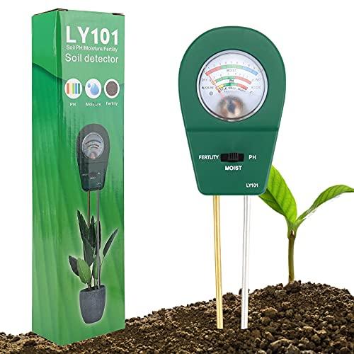 ATUIO - 3 en 1 Probador de Suelo, Medidor de Suelo de [PH] [Fertilidad] [Humedad], 3 en 1 Medidor de Humedad de Plantas [no Requiere Pilas] para Plantas de Suelo/Flor/Césped