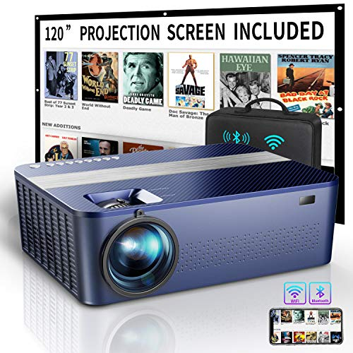 "WiFi Native 1080P Projector with 120"" Projector Screen &Bag,7500L HD Bluetooth Projector with 400"" Display,4K Projector for Outdoor Movies Support 4K Dolby & Zoom,Compatible with Phone,PC,TV Box,PS4"