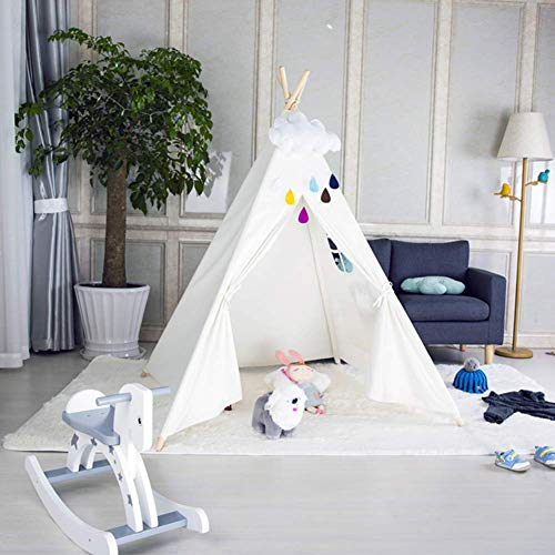 FOUR CLOVER Kids Teepee Tent Tipi Tents Foldable Play Tent Canvas - Kids Playhouse - Portable Kids Tent for Girls, Boys Children with Carry Case Indoor Outdoor, White