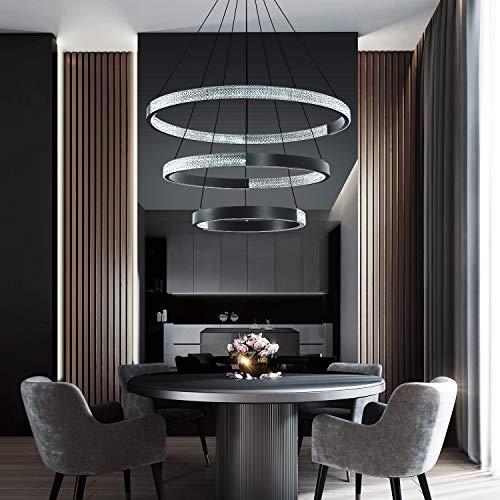 IKK Modern Chandelier Light Fixture, Dimmable Modern Pendant Lighting Acrylic in Crystal Shape, 3 Rings Chandelier DIY Ceiling Light Fixture for Dining Room Living Room Bedroom Diameter 29.6' Black