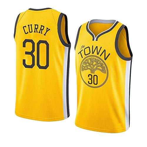 Stephen Curry Trikot,Retro Basketball Uniform nBa Warriors 30#Sommersport Trikot, Basketballhemd Klassisches Stickerei-Top,Atmungsaktive Und Abriebfeste, Jungen Männer Fans Trikot,Yellow-S