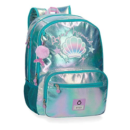 Enso Mochila Doble Compartimento Adaptable Be a Mermaid  color Verde