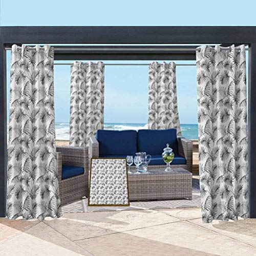 ParadiseDecor Grey and White Extra Wide Curtains Outdoor Summer Drapes for Pergola/Garden Tropical Palm Leaves Botanical Exotic Jungle Hawaiian Rainforest Pattern Grey and White 108W x 108L Inch