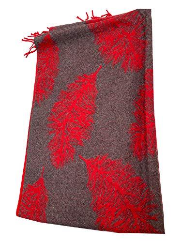 Bufanda con estampado de plumas rojas, muy suave, con borlas para invertir, suave y cálida, elegante bufanda a la moda.