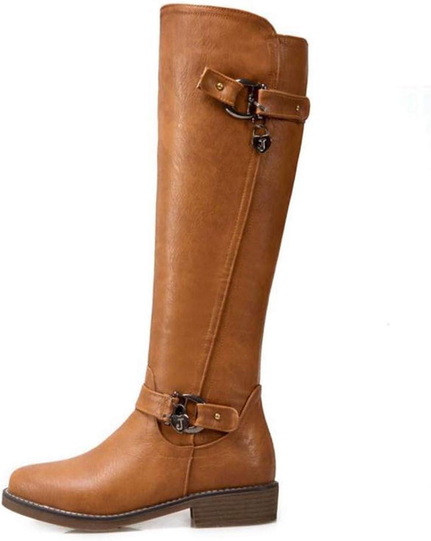 Hoxekle Knee High Boot hög klack bred Winter Warm skor skor skor Consse Zipper Sexy Platform Round Toe Long stövlar  bekvämt