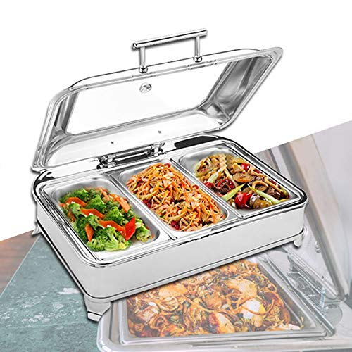 Aprilhp Food Warmers for Parties Buffets Electric, Stainless Steel Buffet Server and Warming Tray, 9L, Chafing Dish Buffet Set - Adjustable Temperature + Hot Plate Electricgn 1/3