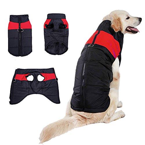 Beesaw Wintermantel für Hunde, Winddicht, warm, Übergröße, für kalte Wetter, für mittelgroße und große Hunde, Dunkelrot, 4XL