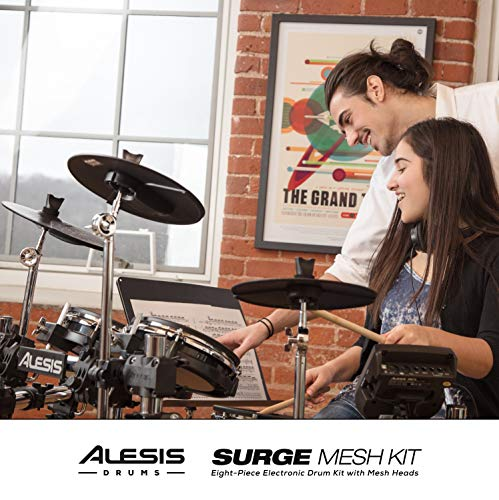 Alesis Surge Mesh Kit - Eight-Piece Electronic Drum Kit with Mesh Heads, 40 Kits, 385 Sounds, 60 Play-Along Tracks, USB/MIDI Connectivity