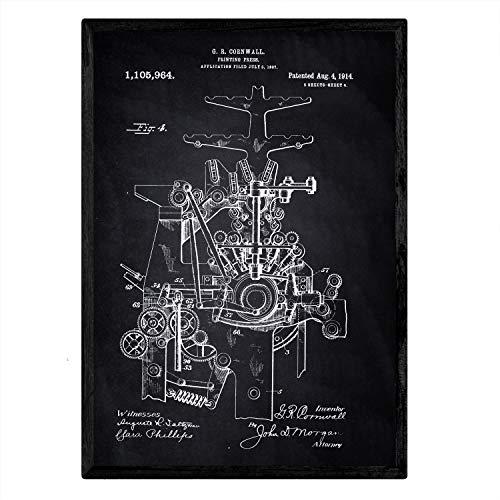 Nacnic Patent Poster Printing machine 4. Folie met oud design patent in A3-formaat met zwarte achtergrond