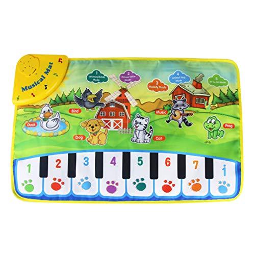 Exceart Elektronische Muziek Speelmat Dier Gedrukt Piano Toetsenbord Mat Speelgoed Voorschoolse Educatief Speelgoed Muziek Speelgoed Voor Kinderen Kinderen Zuigelingen (Zonder Batterijen)