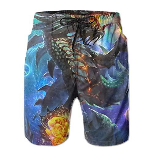 Zhengzho Bañador para Hombre Dragon and Fire Ball en Galaxy Surfing Beach Board Shorts Traje de baño, Talla XL