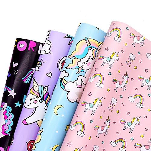 Papel Para Envolver Regalos - Deton 4 Hojas Envoltura Colorido (Doblados) con Unicornio y Dinosaurios Para Cumpleaños, Día De Fiesta, Boda, Baby Shower, Christmas (01)