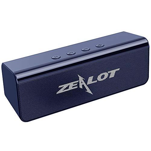 Bluetooth Lautsprecher, Kompakter Dual-Treiber Kabellos Lautsprecher mit Kraftvollem Klang, 24 Stunden Spielzeit, Wasserfest, Freisprechfunktion für iOS, Andriod - Blau Grau