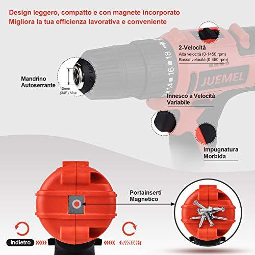 Trapano Avvitatore Batteria JUEMEL Accessori per 100 Pz Kit Avvitatore Elettrico/Trapano Batteria da 2000 mAh con luce LED,coppia massima 36 Nm, 2 velocità, mandrino automatico da 10 mm