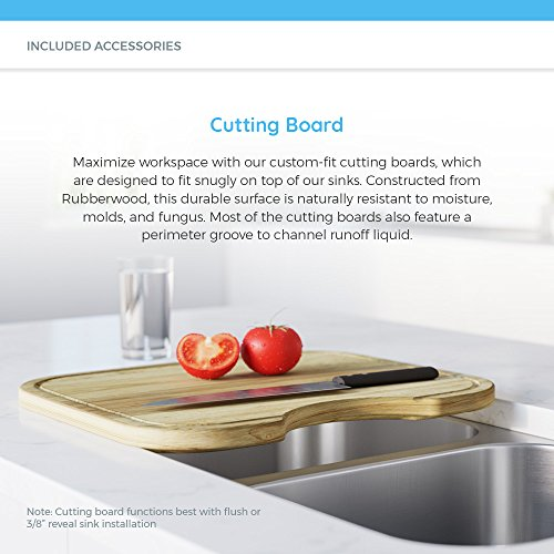 1512 18 Gauge Stainless Steel Kitchen Ensemble (Bundle - 4 Items: Sink, Basket Strainer, Sink Grid, and Cutting Board)