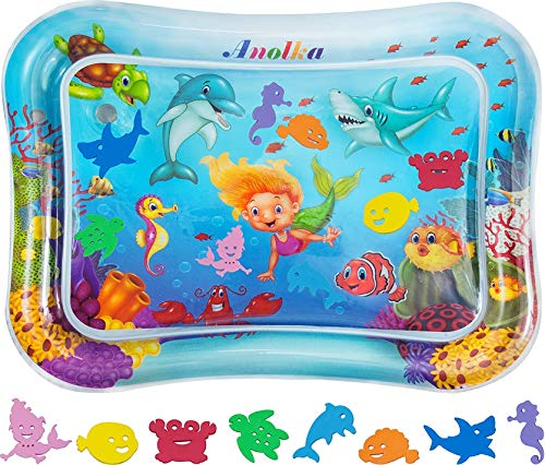 """Anolka Tummy Time Baby Water Mat - Largest 27.5"""" x 21.5"""" Inflatable Sensory Baby Toy Gift 3/6/9/12 Months Boy&Girl -8 Unique Floating Play Toys..."""