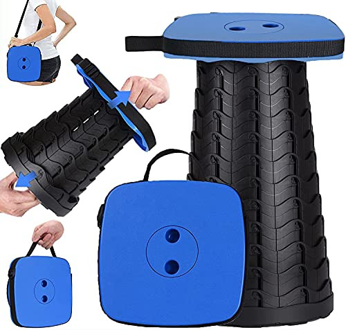 2021 Upgraded-Square Portable Retractable Collapsible Stool with Larger Seat, Folding Telescopic Foldable Camping Stool for Adults for Outdoor Fishing Hiking Gardening Travel BBQ (Blue)