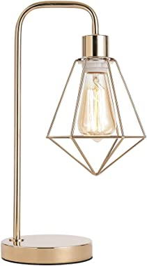 SOTTAE Industrial Gold Cage Table Lamp, cage Desk lamp Vintage Table Lamp Rustic Beside Lamp Rustic Desk Lamp Modern Table Lamp Metal Nightstand Lamp Bedside lamp for Bedroom,Living Room