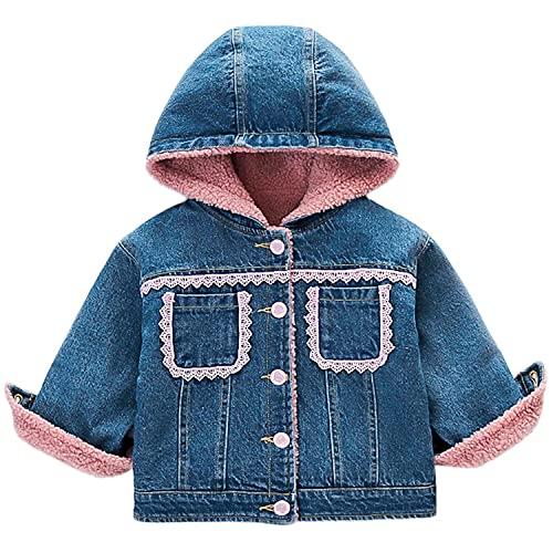 Toddler Baby Girls Hooded Lace Denim Jackets Kids Winter Cute Thicken Fleece Lined Warm Hoodie Jean Coat Plush Outwear (Pink,3-4 Years,3 Years,4 Years)