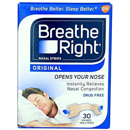 Breathe Right Nasal Strips Original Tan Small/Medium 30 ea (Pack of 5)