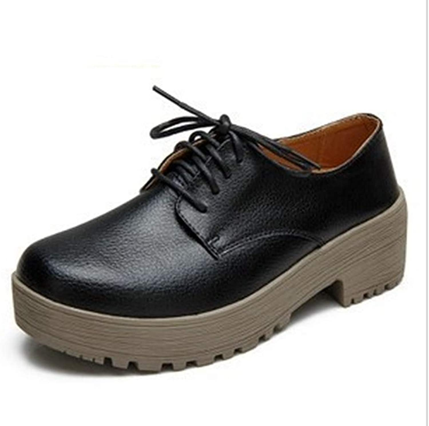 Women's Fashion Lace-up Oxfords shoes Leather Perforated Wingtips Square-Toe Wedge Platform Oxford shoes