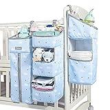Orzbow Organizador 3 en 1 para guardería, organizador de pañales para bebé, organizador de pañales para cama, cuna, cambiador o pared (Azul-F)