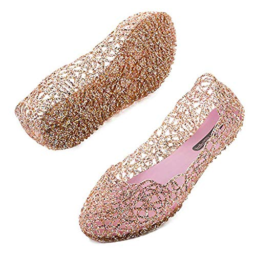 TTW Donne Spumante Jelly Scarpe Soft Hollow Flat Ballet Sandals Beach Pantofole estive,Pink,41