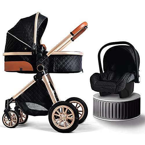 B.CHILDHOOD Baby Stroller Foldable Travel System High Landscape View Pram Pushchair Pram Buggy, Black