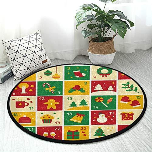 Tapis rond en peluche antidérapant pour enfants avec calendrier de l'Avent pour chambre à coucher, salle de jeux, décoration intérieure (diamètre 36,2\