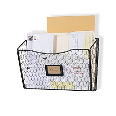 Wall35 Felic Hanging File Holder - Wall Mounted Metal Chicken Wire Magazine Rack - Office Folder Organizer with Name Tag Slot in Black (1)