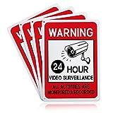 GLOBLELAND 4 Paquete de Carteles de Videovigilancia, 7x10 Pulgada, 40 mil de Aluminio, Todas Las Actividades, Señalización Monitoreada Y Registrada, Reflectante UV Protegido E Impermeable
