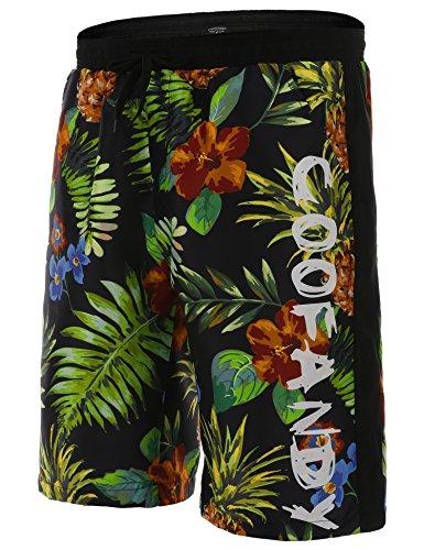 COOFANDY Herren Slim Fit Freizeit Shorts Casual Mode Urlaub Strand-Shorts Sommer Regenwald Blumen Blatt(Schwarz und Grün, S)