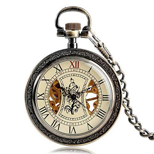 Yxxc Reloj de Bolsillo Patrón de árbol Vintage Relojes de Bolsillo de Cuerda Manual Mujeres Hombres Fob Cadena mecánica Exquisito Esqueleto Números Romanos Regalo de Cuerda (Color: Bronce)