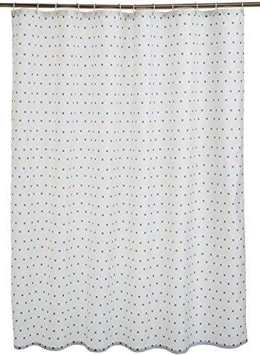 Amazon Basics - Cortina de ducha de tejido estampado (180 x 200 cm), diseño de cuadros azules