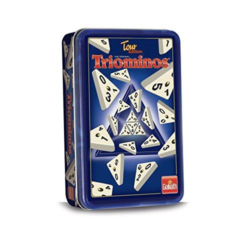 Triominos 60632 Tour Edition ausgetüfteltes Domino-Spiel mit dreieckigen Steinen, Legespiel