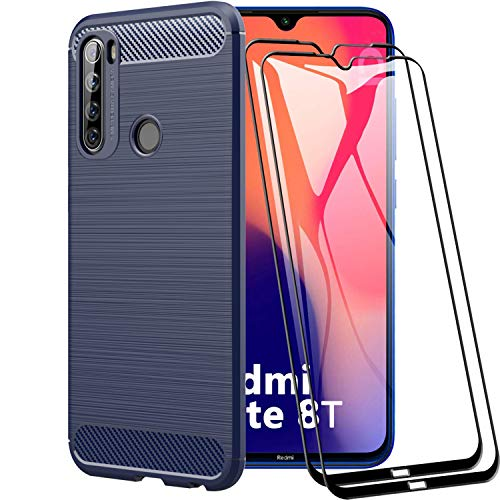 XIFAN Hülle für Xiaomi Redmi Note 8T, Flexible Slim Case, TPU-Schutzhülle, Stoßfest Cover & Anti-Fingerprint Hülle für Xiaomi Redmi Note 8T, Blau + [2 Pack] Bildschirmschutzfolie