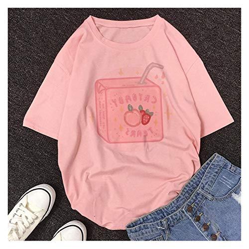 LIWEIKE T-shirt style grunge 2020 style dessin animé style japonais avec jus de pêche pour femme Couleur : 003, Taille : XL