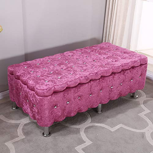 QTQZDD Reposapiés y pufs pequeños Tufted,Sofa Rectangular Zapato Banco Cama tapizada de heces de Almacenamiento-G 100x40x40cm(39x16x16inch)