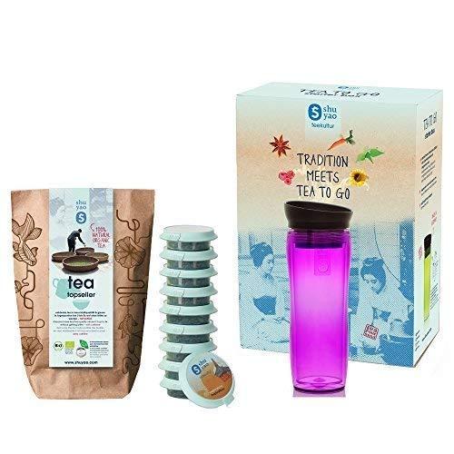 Shuyao Starter Box Tea to Go Thermobecher violett (360ml) mit integriertem Teesieb + 10 Loser Bio Tee 30g