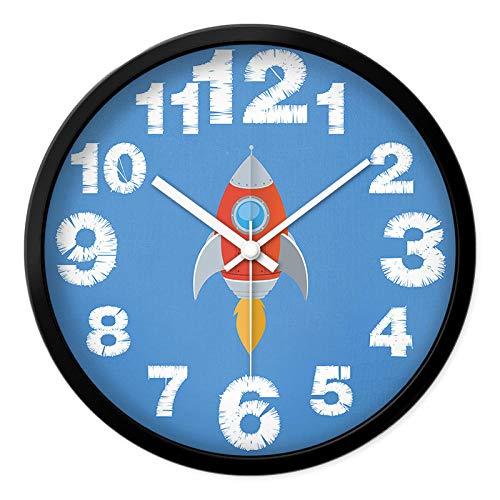 LANKOULI Kinderzimmer Schlafzimmer Auto Kindergarten Klassenzimmer Wanduhr Wanduhr niedlichen Cartoon stumme Uhr Uhr-12 Zoll_Kleine Rakete