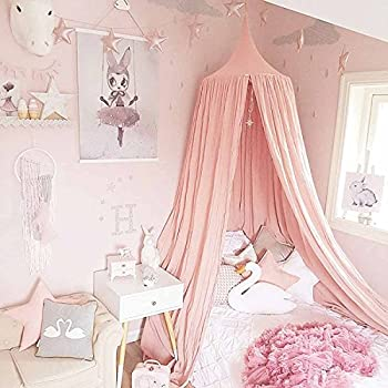 dix-rainbow Princess Bed Canopy for Kids Baby Bed Round Dome Kids Indoor Outdoor Castle Play Tent Hanging House Decoration Reading Nook Cotton Canvas Coral Pink