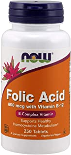 NOW Supplements, Folic Acid 800 mcg + B-12 (Cyanocobalamin) 25 mcg, B Complex Vitamin, 250 Tablets