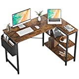 Small L Shaped Computer Desk, Homieasy 47 Inch L-Shaped Corner Desk with Reversible Storage Shelves for Home Office Workstation, Modern Simple Style Writing Desk Table with Storage Bag(Rustic Brown)