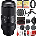 Sigma 100-400mm f/5-6.3 DG DN OS Contemporary Lens Leica L-Mount Bundle with 2X 64GB Memory Cards, 3 Piece Filter Kit, Wrist Strap, Card Reader, Memory Card Case, Tabletop Tripod from SIGMA